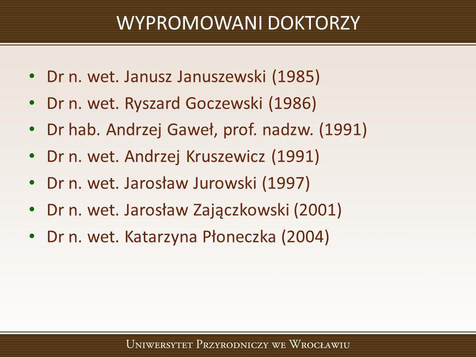 WYPROMOWANI DOKTORZY Dr n. wet. Janusz Januszewski (1985)