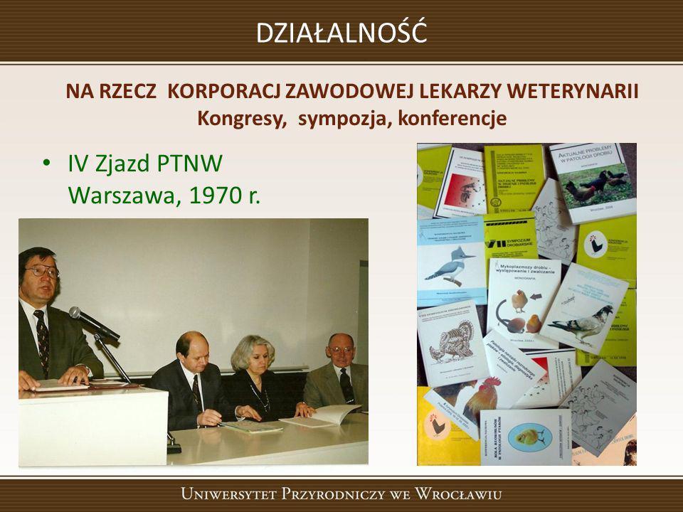 DZIAŁALNOŚĆ IV Zjazd PTNW Warszawa, 1970 r.