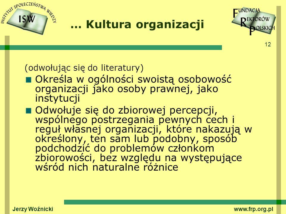 … Kultura organizacji (odwołując się do literatury) Określa w ogólności swoistą osobowość organizacji jako osoby prawnej, jako instytucji.