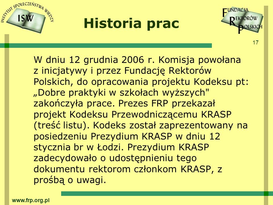 Historia prac