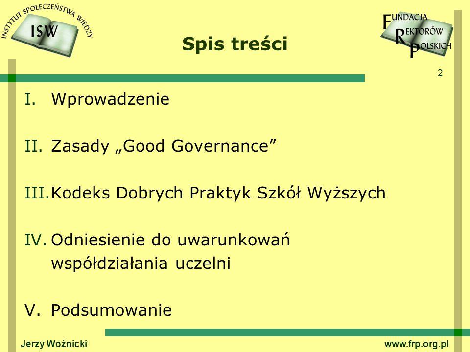"""Spis treści Wprowadzenie Zasady """"Good Governance"""