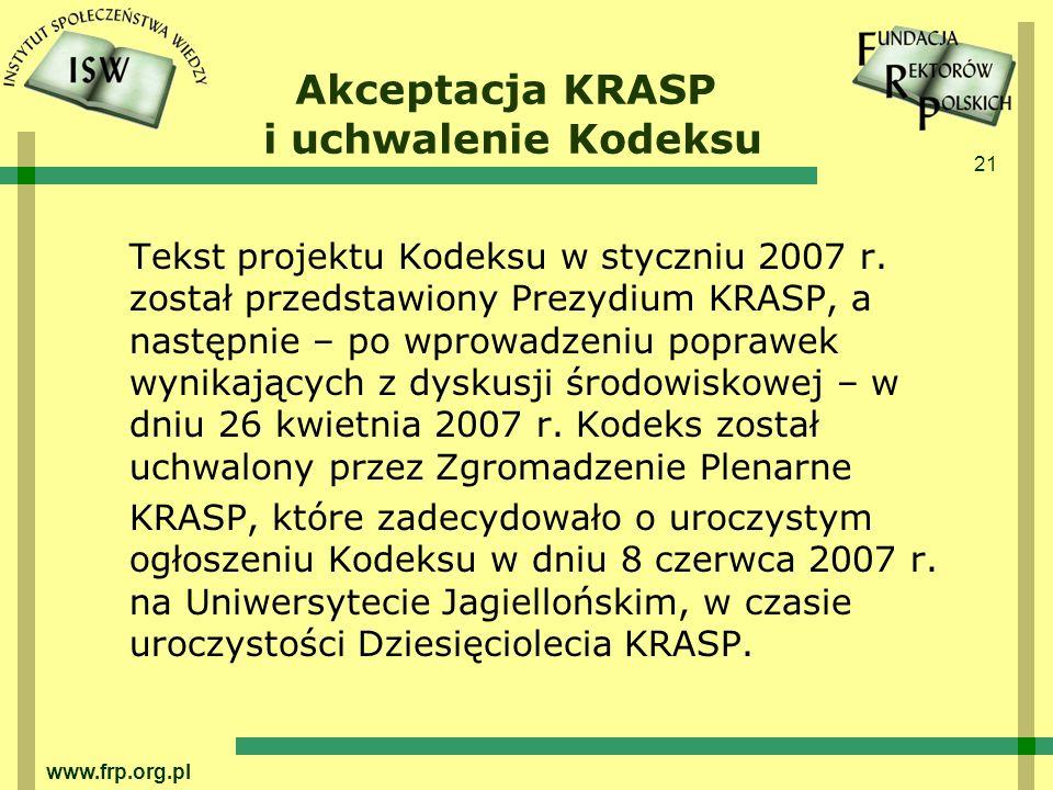 Akceptacja KRASP i uchwalenie Kodeksu