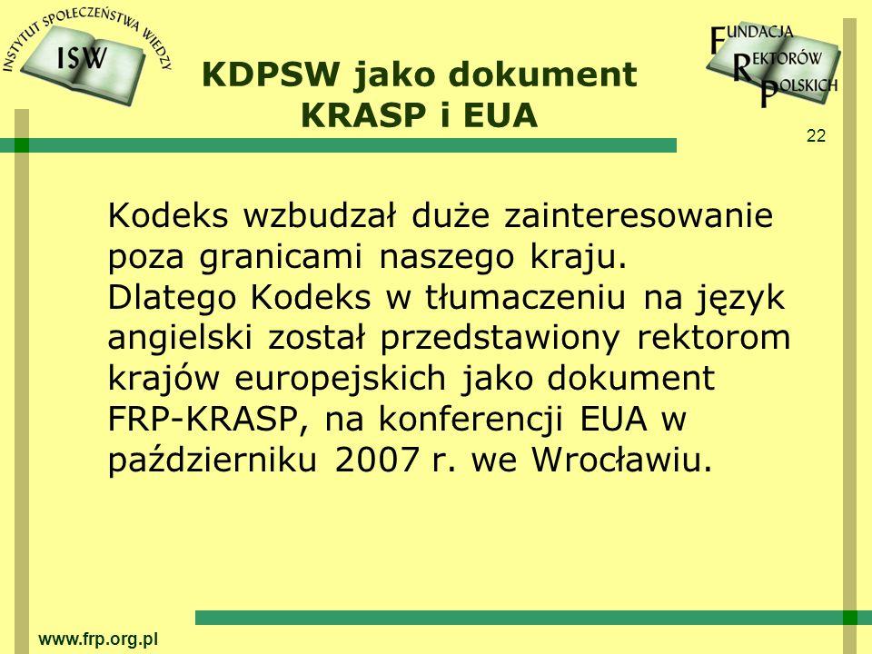 KDPSW jako dokument KRASP i EUA