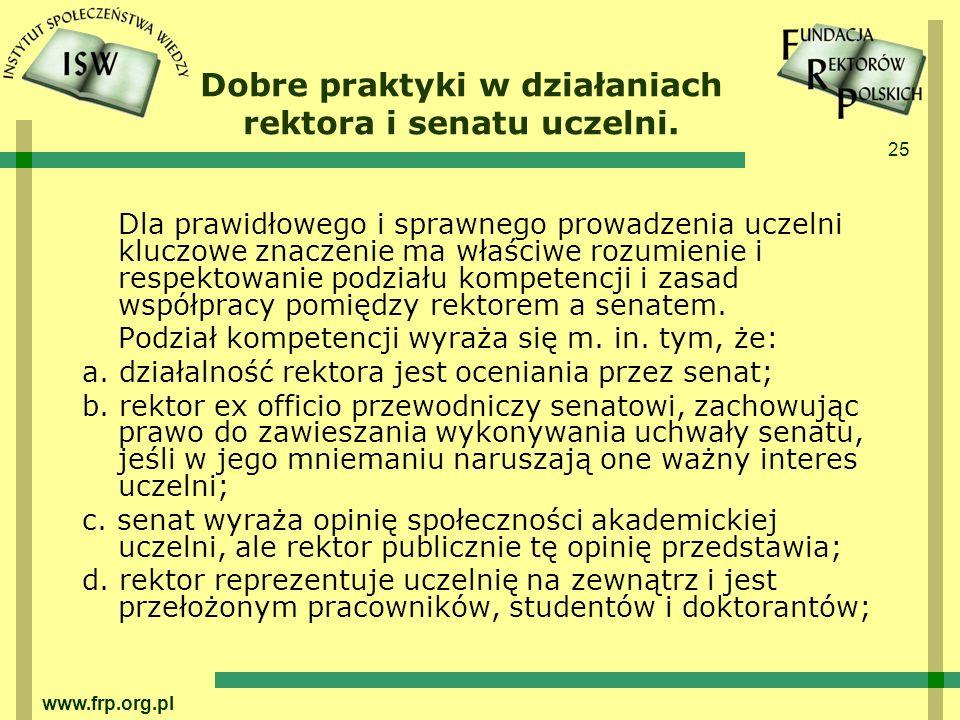 Dobre praktyki w działaniach rektora i senatu uczelni.