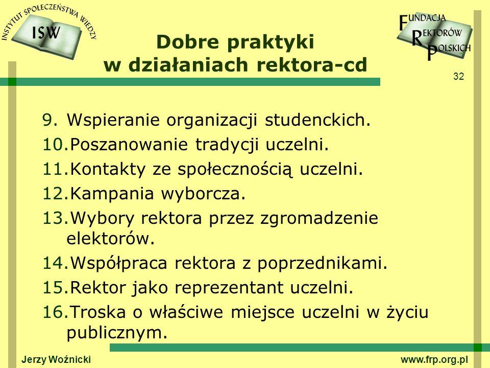 Dobre praktyki w działaniach rektora-cd