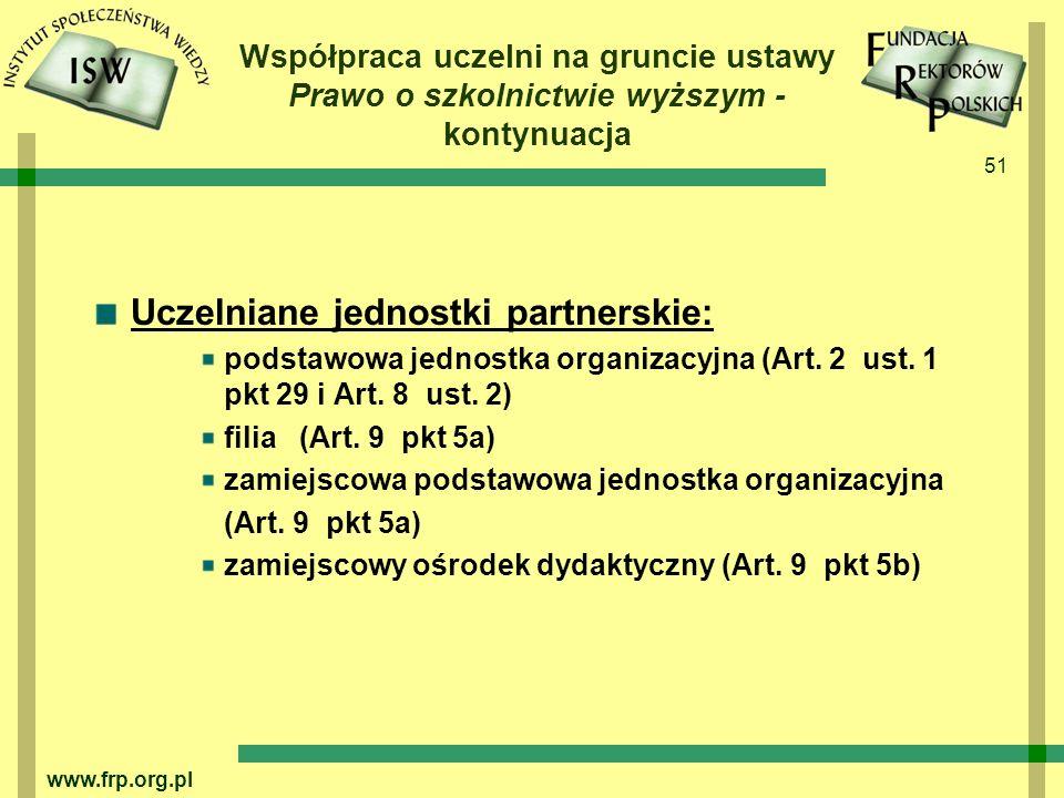 Uczelniane jednostki partnerskie: