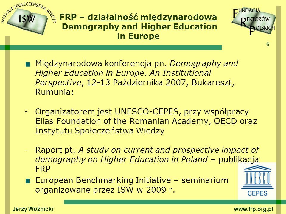 FRP – działalność międzynarodowa Demography and Higher Education in Europe