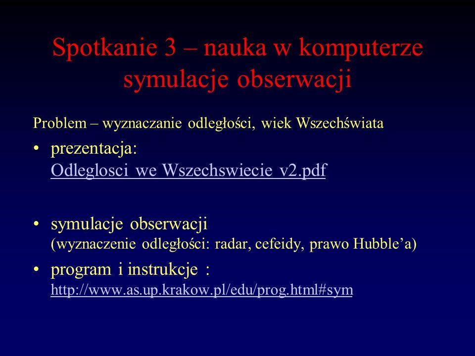 Spotkanie 3 – nauka w komputerze symulacje obserwacji