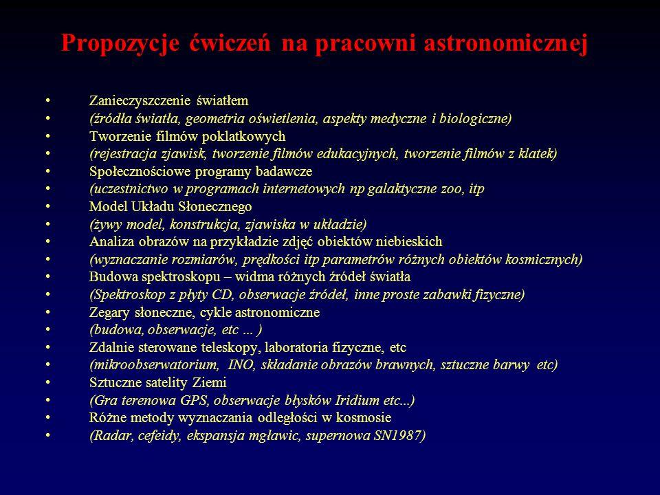 Propozycje ćwiczeń na pracowni astronomicznej