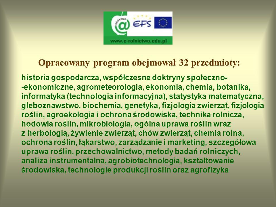 Opracowany program obejmował 32 przedmioty: