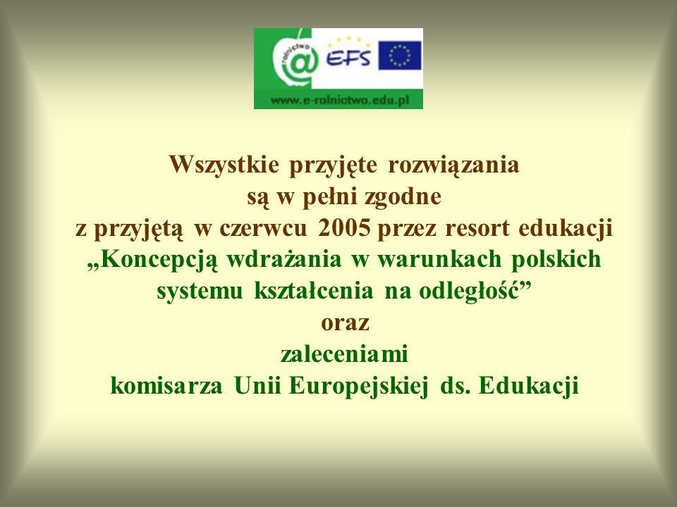 """Wszystkie przyjęte rozwiązania są w pełni zgodne z przyjętą w czerwcu 2005 przez resort edukacji """"Koncepcją wdrażania w warunkach polskich systemu kształcenia na odległość oraz zaleceniami komisarza Unii Europejskiej ds. Edukacji"""