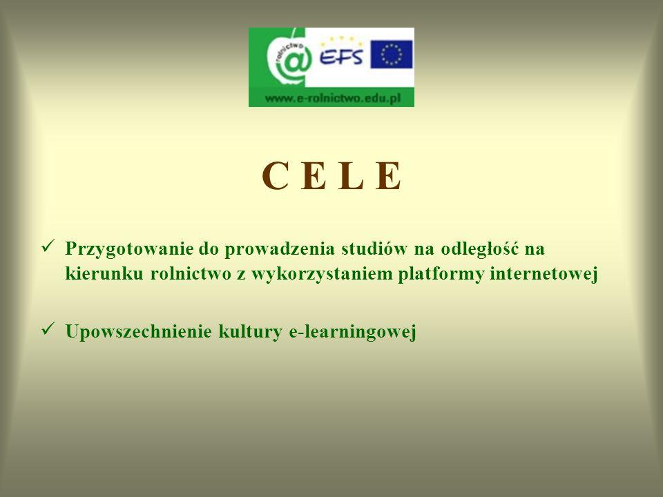 C E L E Przygotowanie do prowadzenia studiów na odległość na kierunku rolnictwo z wykorzystaniem platformy internetowej.