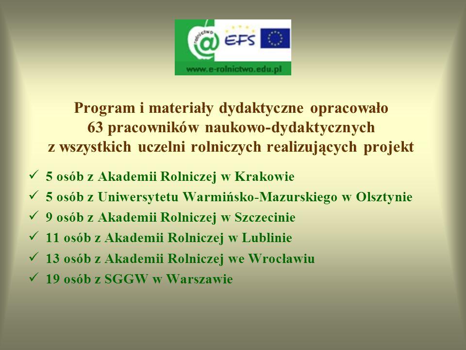 Program i materiały dydaktyczne opracowało 63 pracowników naukowo-dydaktycznych z wszystkich uczelni rolniczych realizujących projekt