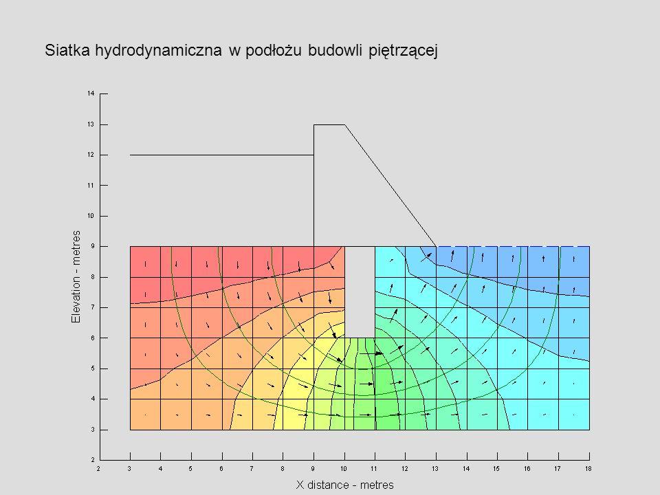 Siatka hydrodynamiczna w podłożu budowli piętrzącej