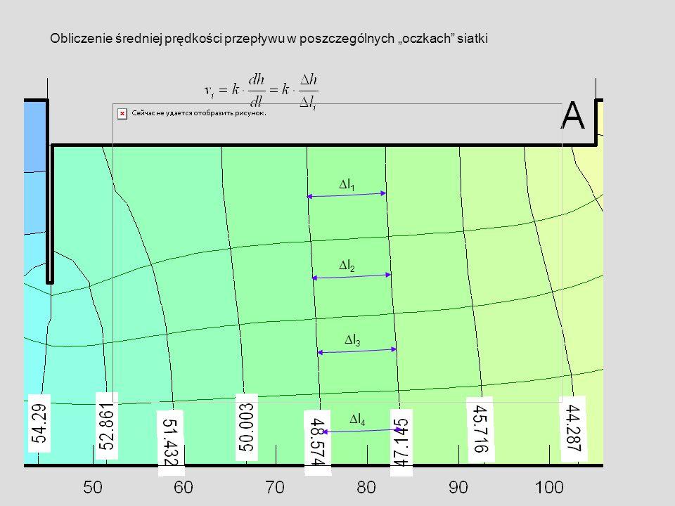 """Obliczenie średniej prędkości przepływu w poszczególnych """"oczkach siatki"""