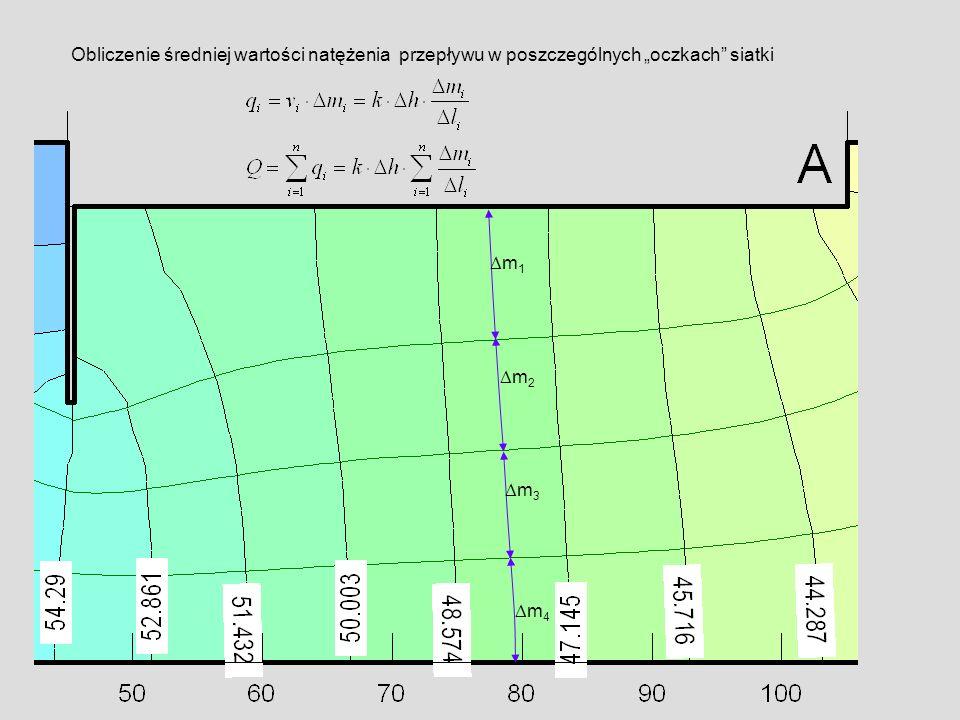 """Obliczenie średniej wartości natężenia przepływu w poszczególnych """"oczkach siatki"""