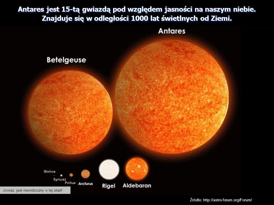 Antares jest 15-tą gwiazdą pod względem jasności na naszym niebie.