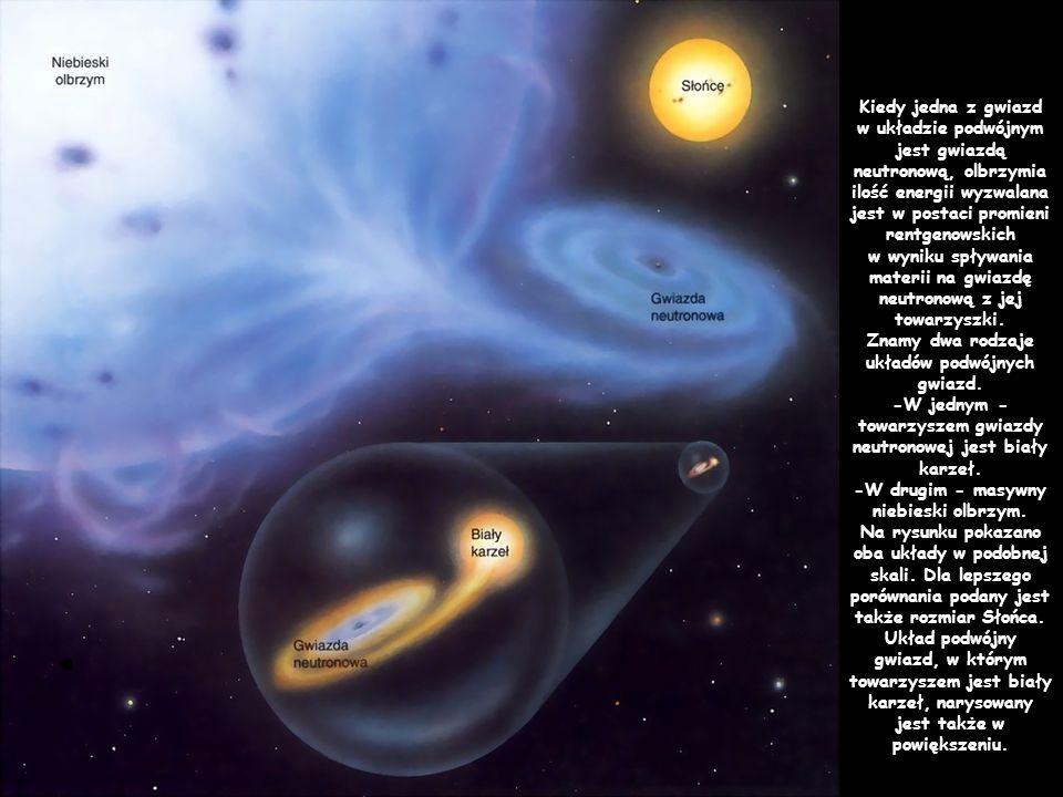 Kiedy jedna z gwiazd w układzie podwójnym jest gwiazdą neutronową, olbrzymia ilość energii wyzwalana jest w postaci promieni rentgenowskich w wyniku spływania materii na gwiazdę neutronową z jej towarzyszki.