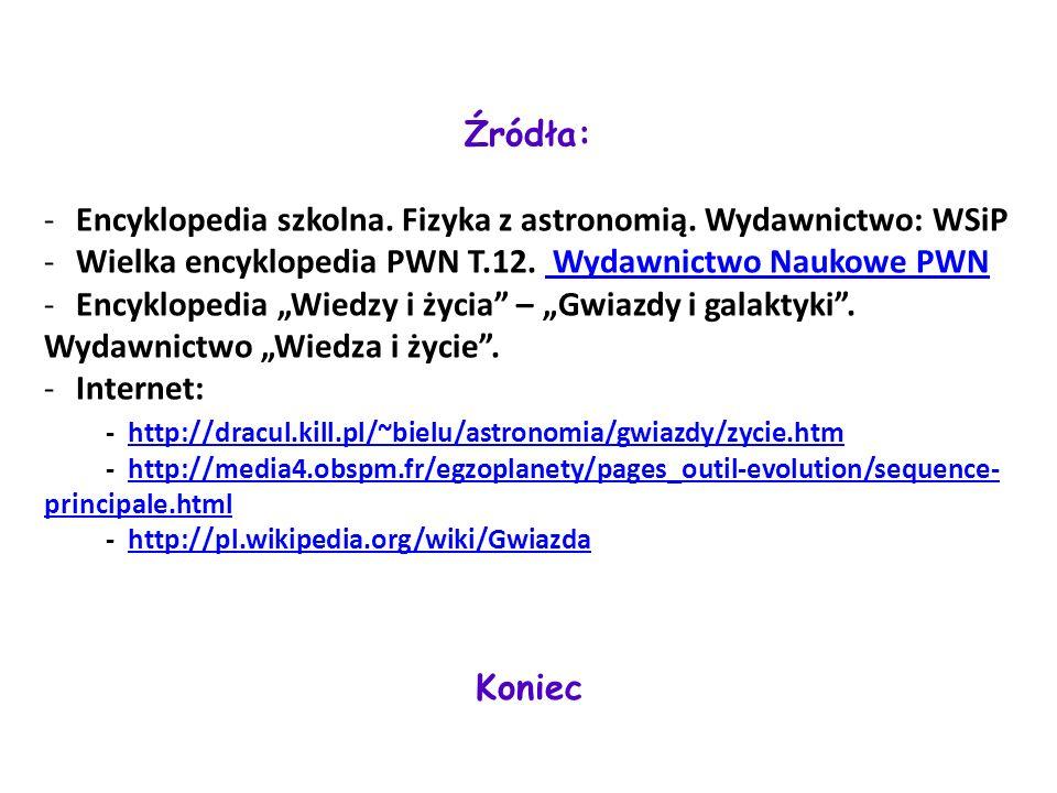 Źródła: Encyklopedia szkolna. Fizyka z astronomią. Wydawnictwo: WSiP. Wielka encyklopedia PWN T.12. Wydawnictwo Naukowe PWN.