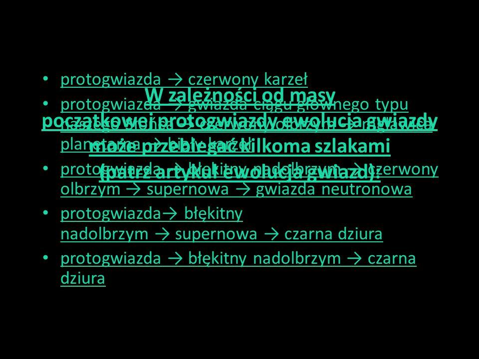 protogwiazda → czerwony karzeł