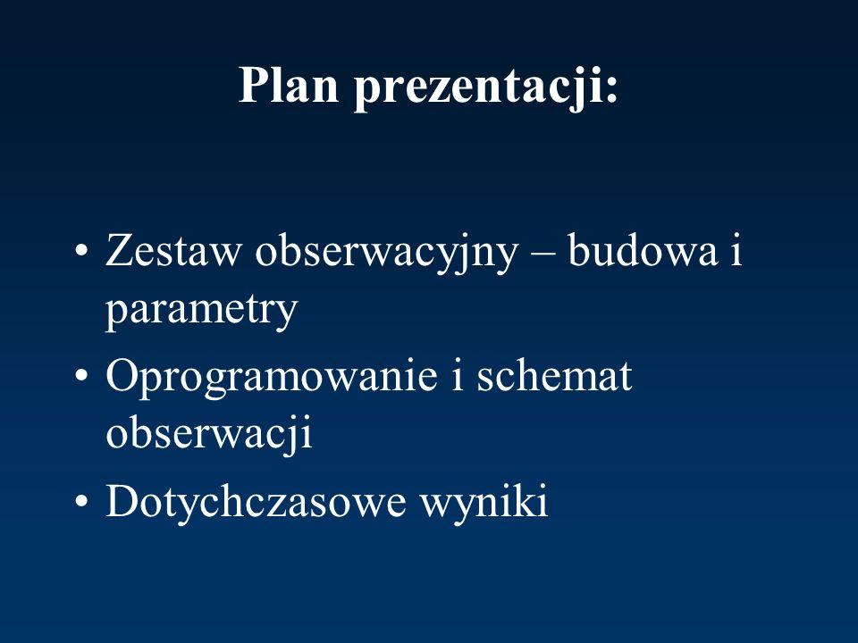 Plan prezentacji: Zestaw obserwacyjny – budowa i parametry