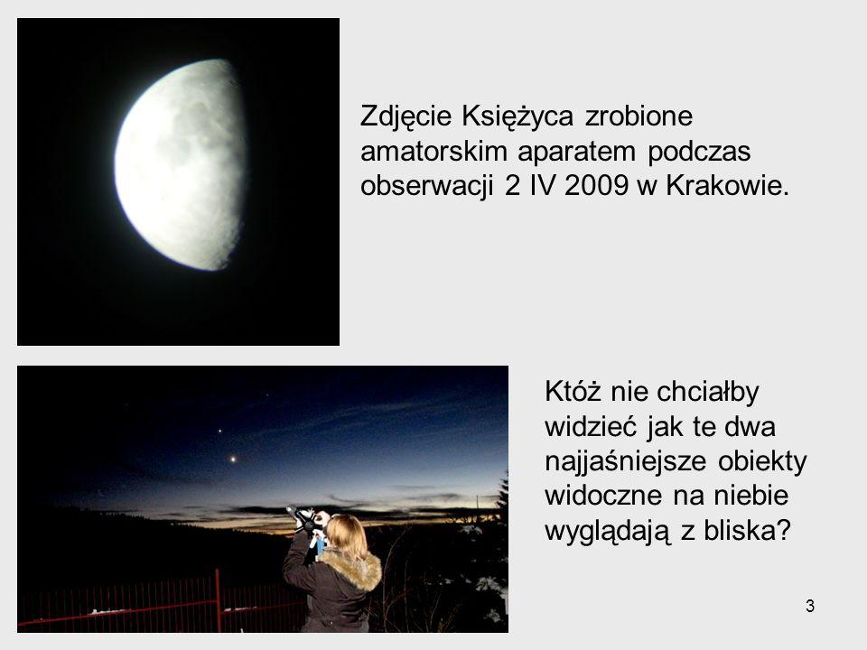 Zdjęcie Księżyca zrobione amatorskim aparatem podczas obserwacji 2 IV 2009 w Krakowie.