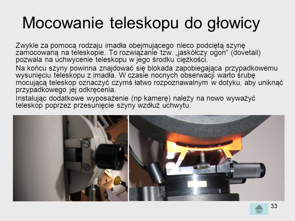 Mocowanie teleskopu do głowicy