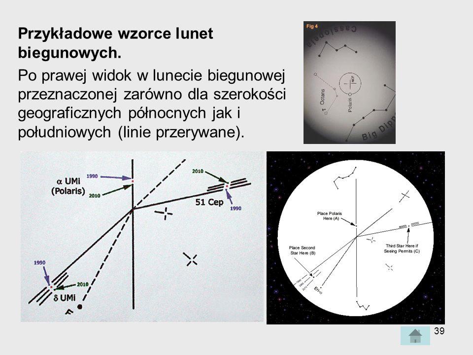 Przykładowe wzorce lunet biegunowych.