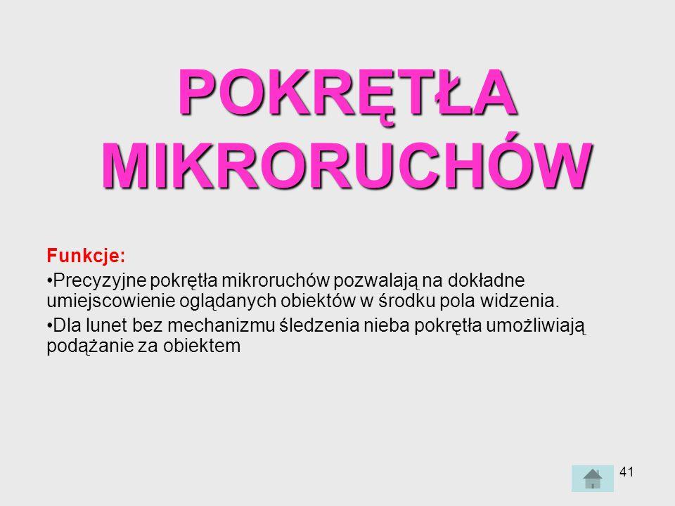 POKRĘTŁA MIKRORUCHÓW Funkcje: