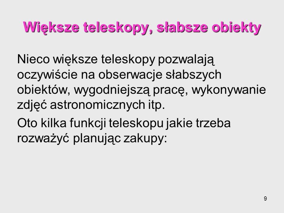 Większe teleskopy, słabsze obiekty