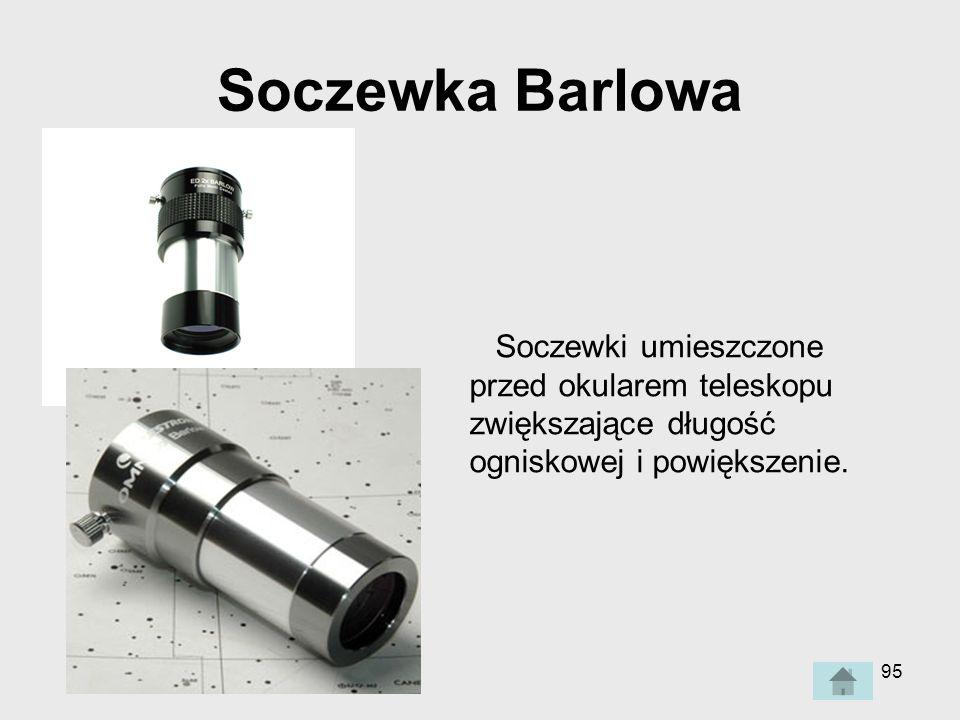 Soczewka Barlowa Soczewki umieszczone przed okularem teleskopu zwiększające długość ogniskowej i powiększenie.