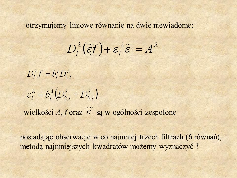 otrzymujemy liniowe równanie na dwie niewiadome: