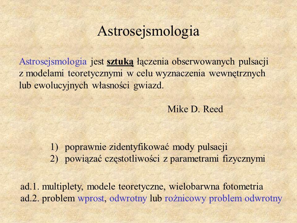 Astrosejsmologia Astrosejsmologia jest sztuką łączenia obserwowanych pulsacji. z modelami teoretycznymi w celu wyznaczenia wewnętrznych.