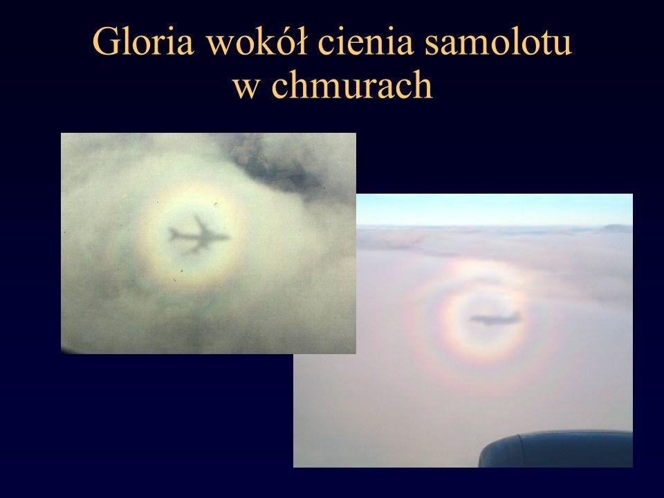 Gloria wokół cienia samolotu w chmurach