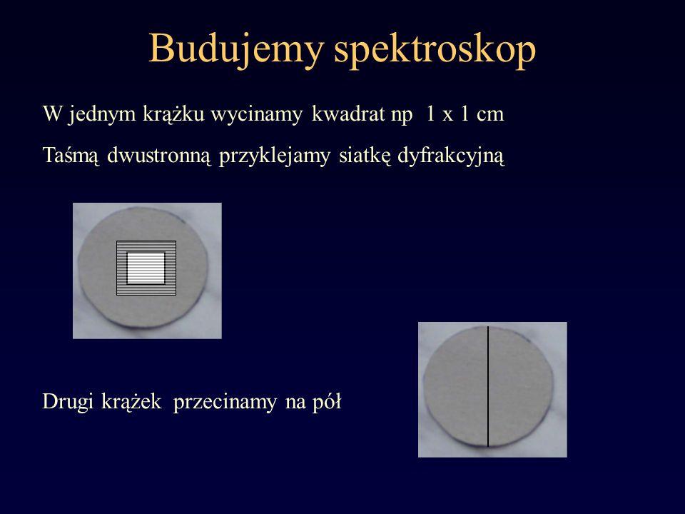 Budujemy spektroskop W jednym krążku wycinamy kwadrat np 1 x 1 cm