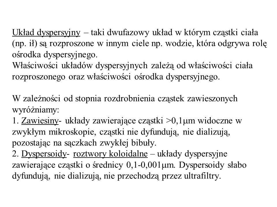 Układ dyspersyjny – taki dwufazowy układ w którym cząstki ciała (np