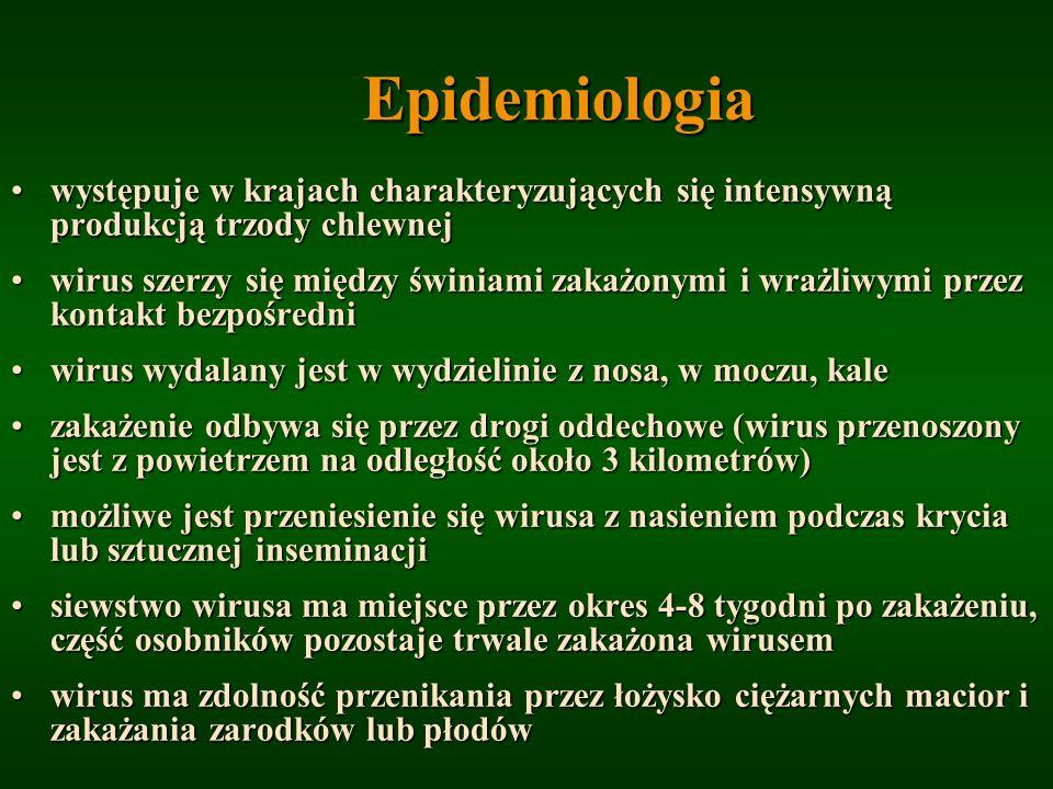 Epidemiologia występuje w krajach charakteryzujących się intensywną produkcją trzody chlewnej.
