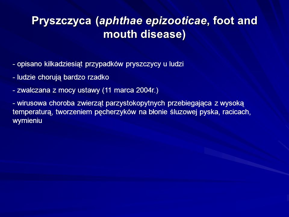 Pryszczyca (aphthae epizooticae, foot and mouth disease)