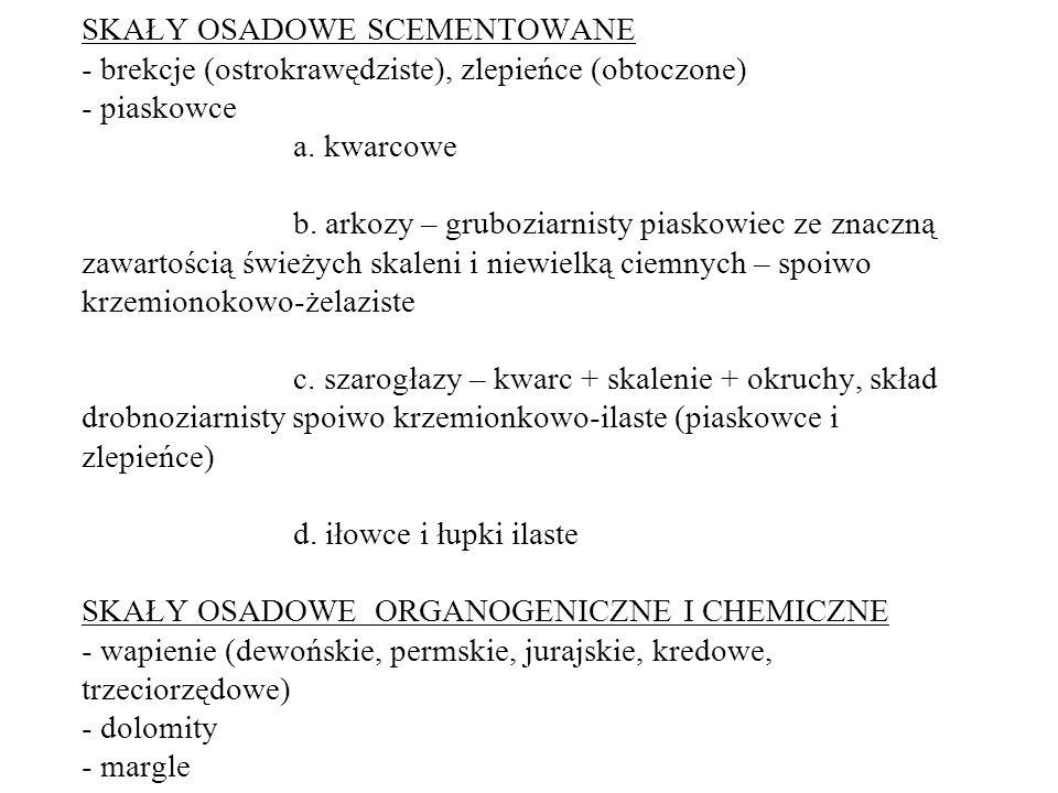 SKAŁY OSADOWE SCEMENTOWANE - brekcje (ostrokrawędziste), zlepieńce (obtoczone) - piaskowce a.