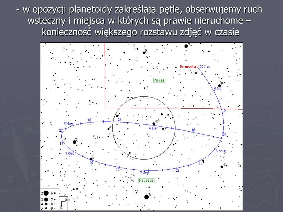 w opozycji planetoidy zakreślają pętle, obserwujemy ruch wsteczny i miejsca w których są prawie nieruchome – konieczność większego rozstawu zdjęć w czasie