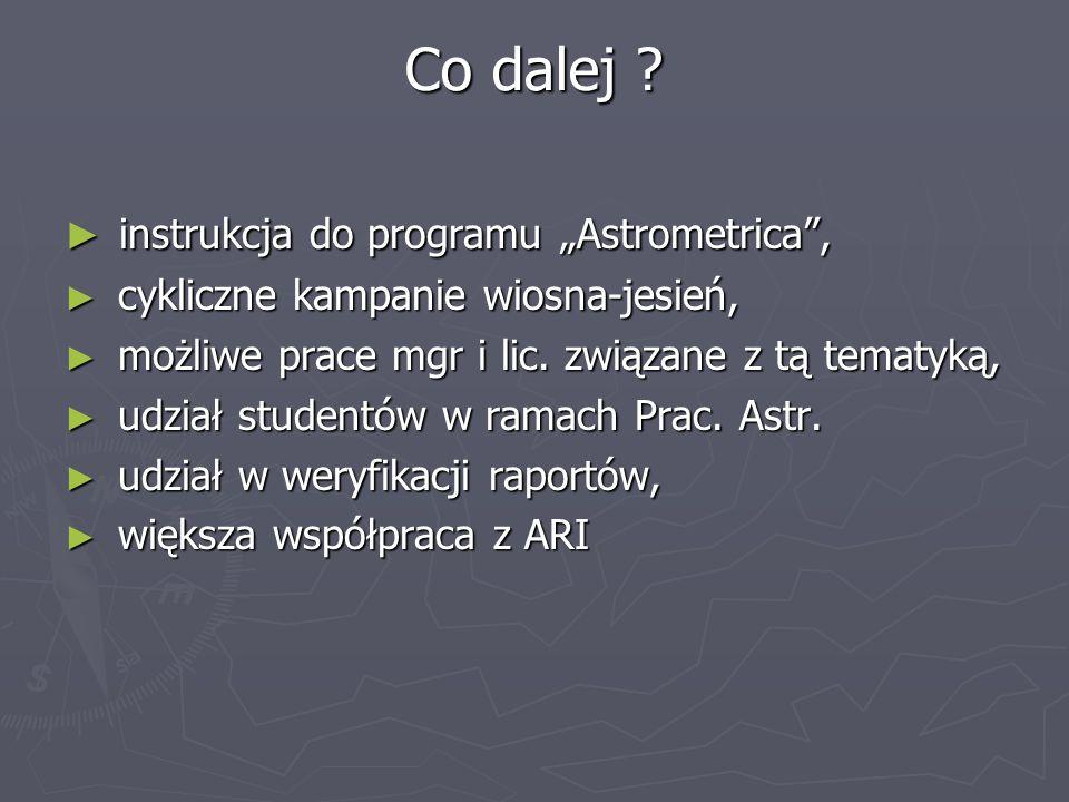 "Co dalej instrukcja do programu ""Astrometrica ,"