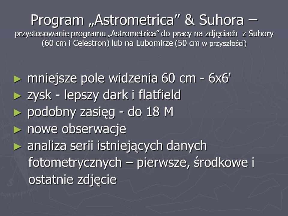"""Program """"Astrometrica & Suhora – przystosowanie programu """"Astrometrica do pracy na zdjęciach z Suhory (60 cm i Celestron) lub na Lubomirze (50 cm w przyszłości)"""