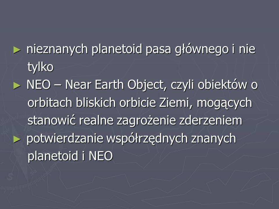 nieznanych planetoid pasa głównego i nie