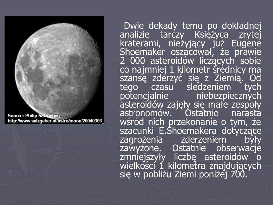 Dwie dekady temu po dokładnej analizie tarczy Księżyca zrytej kraterami, nieżyjący już Eugene Shoemaker oszacował, że prawie 2 000 asteroidów liczących sobie co najmniej 1 kilometr średnicy ma szansę zderzyć się z Ziemią.