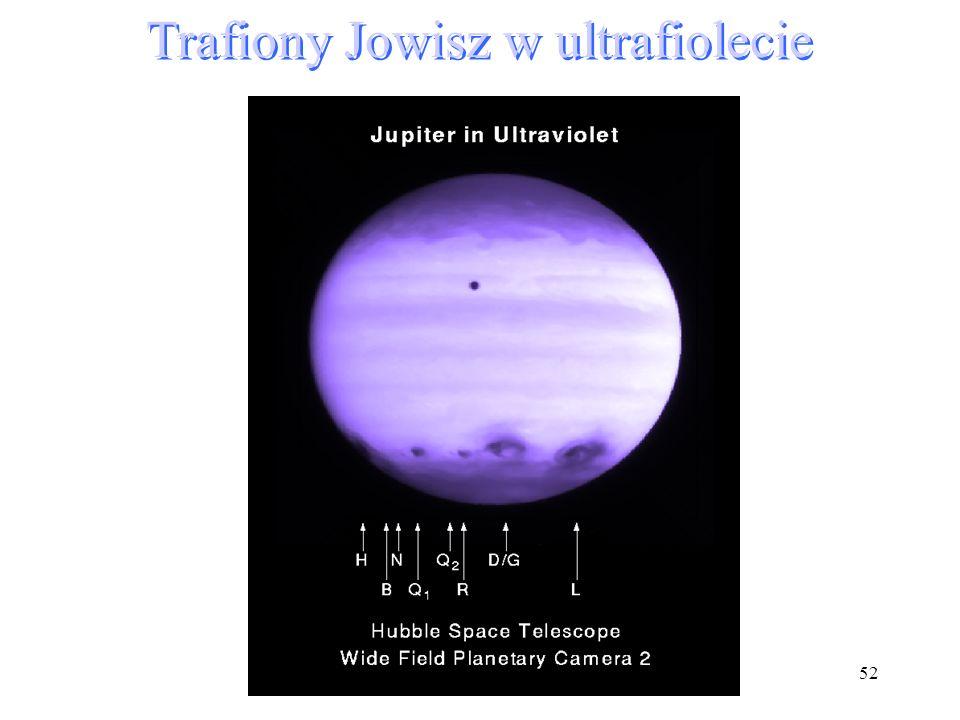 Trafiony Jowisz w ultrafiolecie