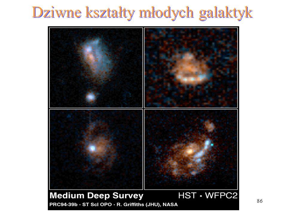 Dziwne kształty młodych galaktyk