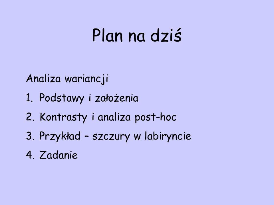 Plan na dziś Analiza wariancji Podstawy i założenia