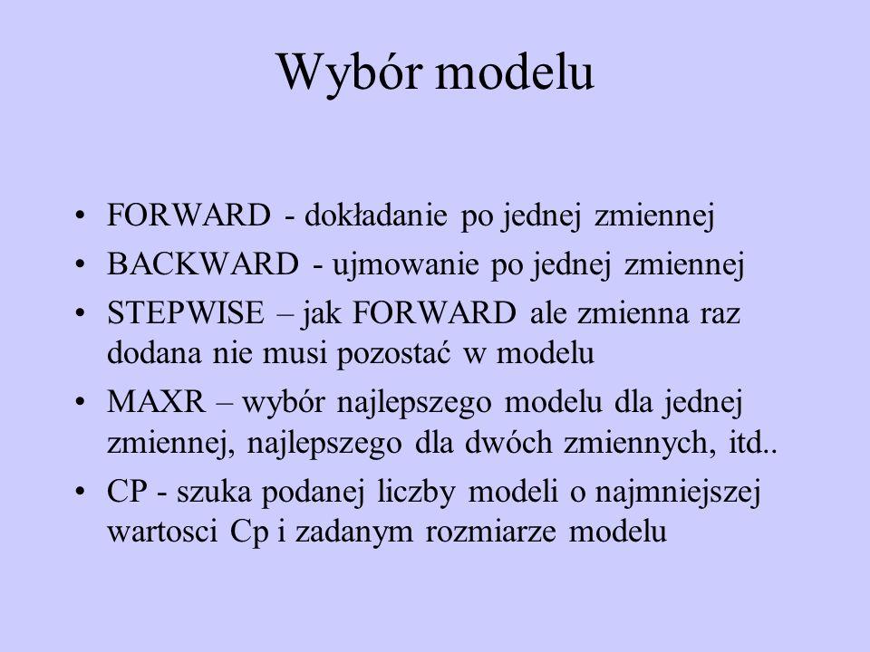 Wybór modelu FORWARD - dokładanie po jednej zmiennej