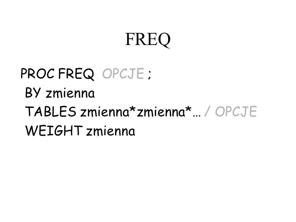 FREQ PROC FREQ OPCJE ; BY zmienna TABLES zmienna*zmienna*… / OPCJE