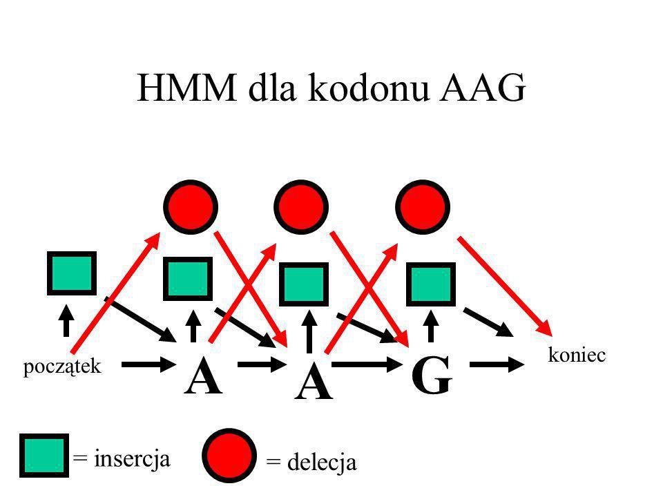 HMM dla kodonu AAG A G koniec A początek = insercja = delecja